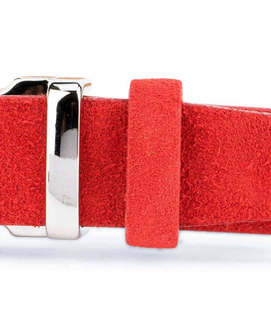 Thin-Red-Suede-Belt-Womens-1-inch-Silver-nickel-buckle
