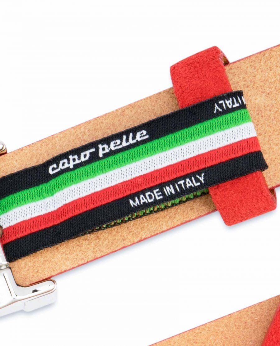 Thin-Red-Suede-Belt-Womens-1-inch-Woven-tag