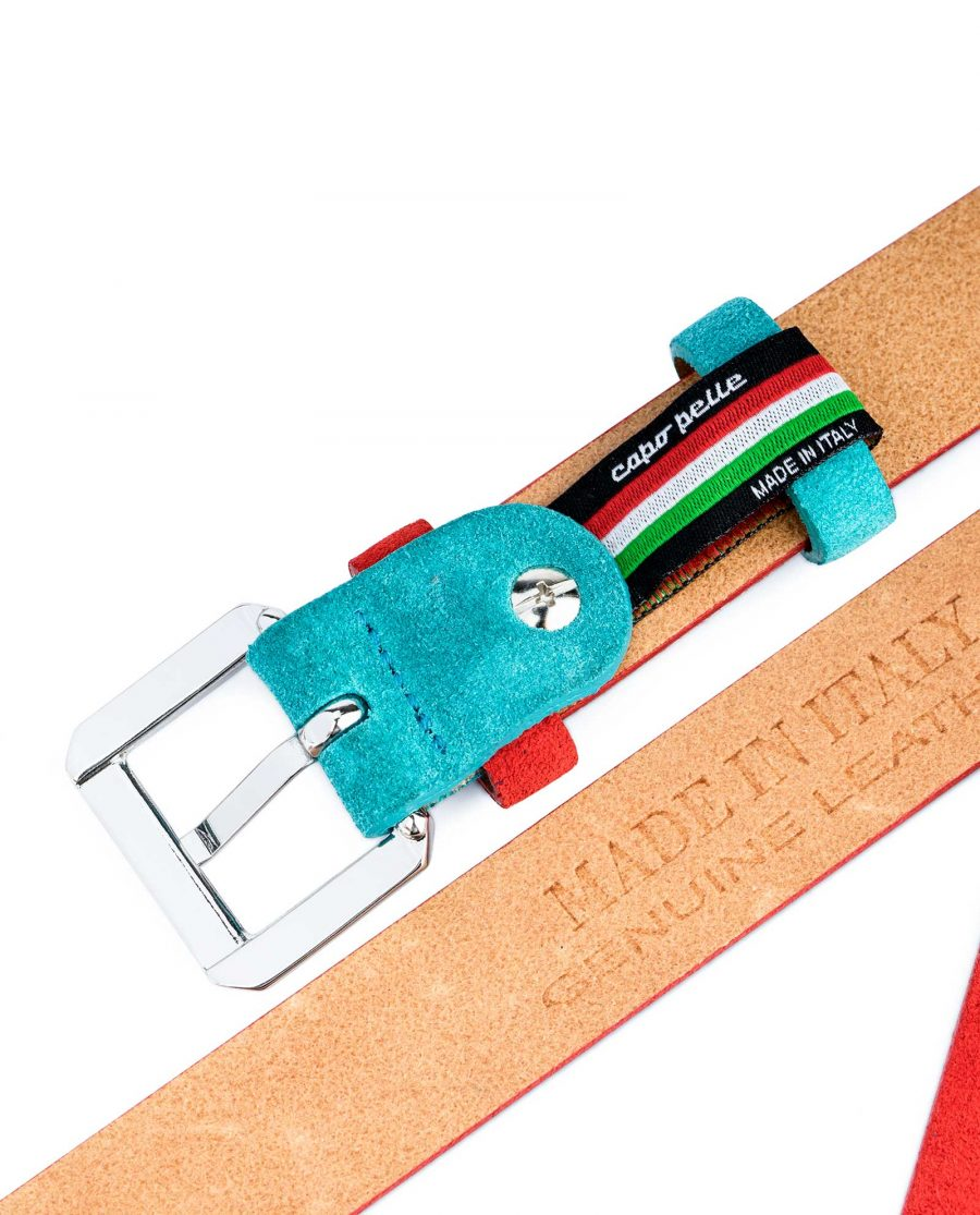 Thin-Red-Suede-Belt-with-Turqouise-Capo-Pelle-Heat-stamp