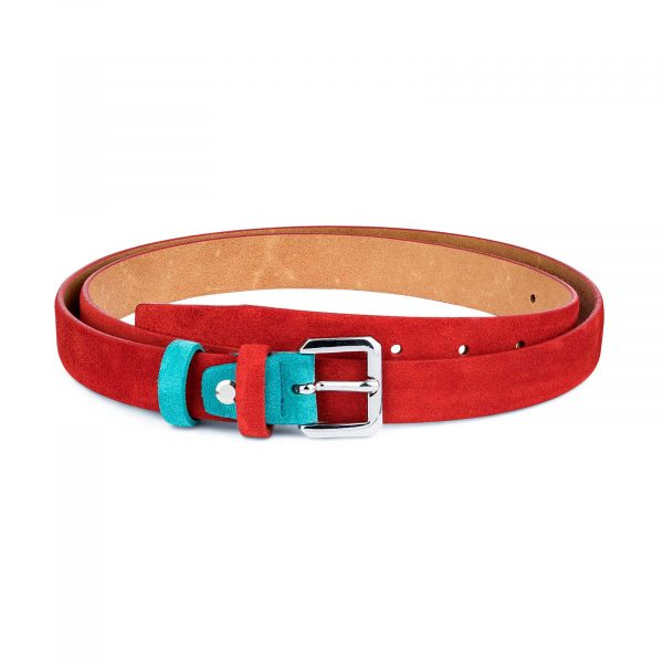Thin-Red-Suede-Belt-with-Turqouise-Capo-Pelle-Main-image
