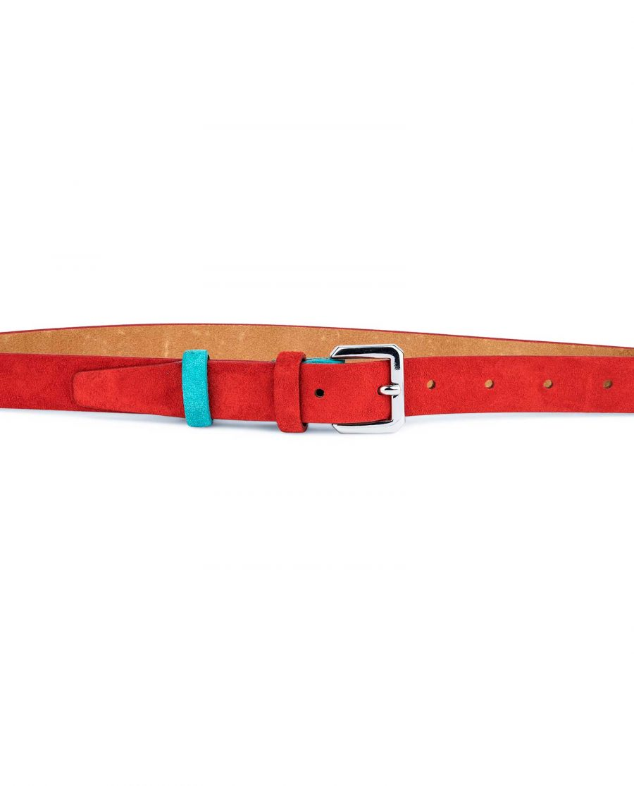 Thin-Red-Suede-Belt-with-Turqouise-Capo-Pelle-On-pants