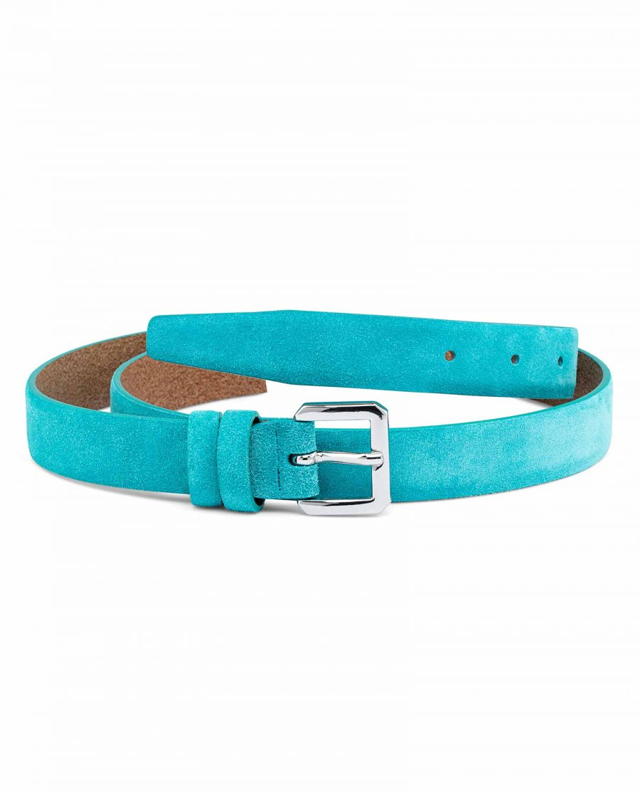 Turquoise-Belt-For-Dress-Silver-buckle-Suede