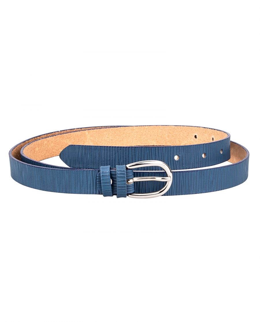 Vertical-Striped-Blue-Skinny-Belt-Front