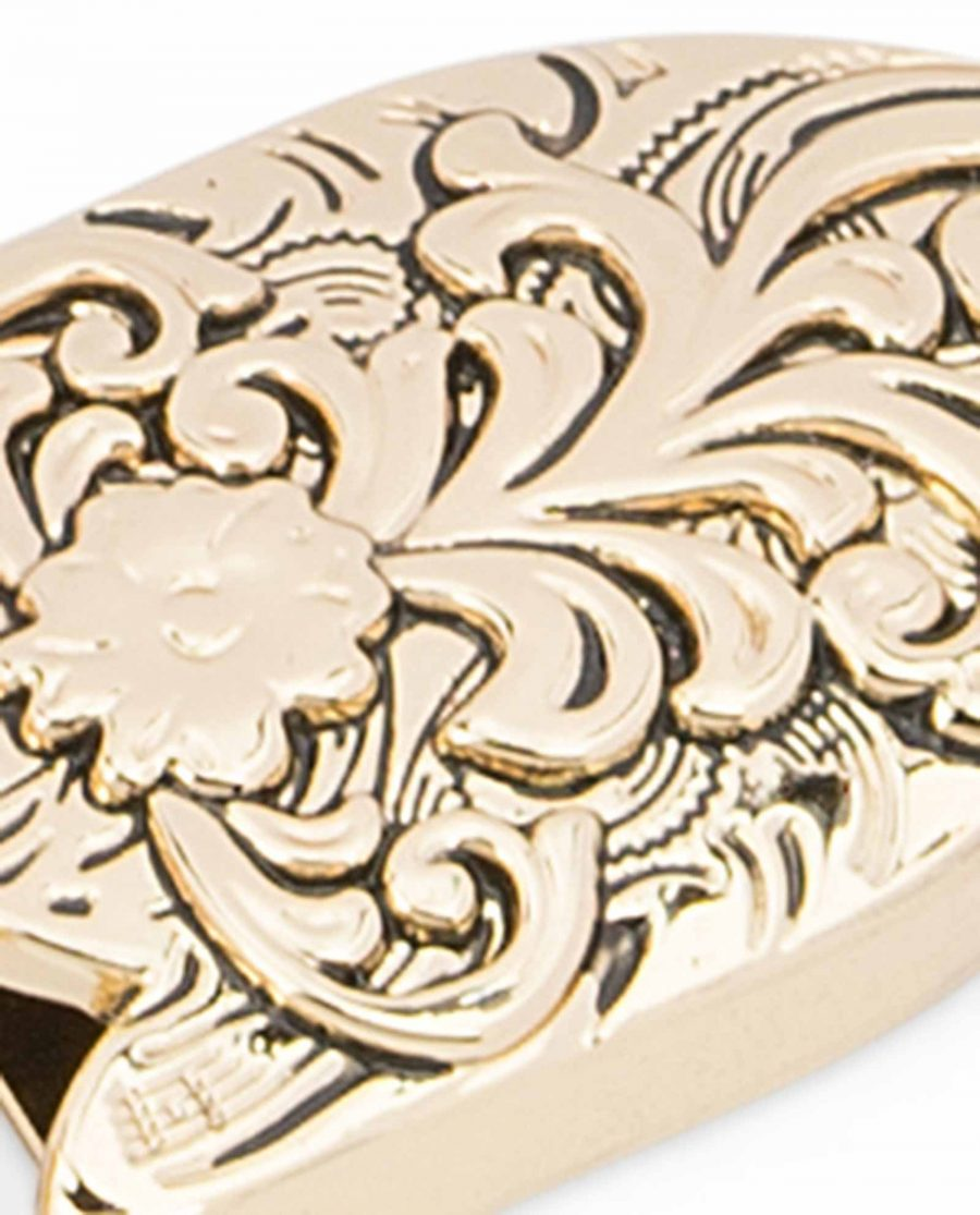 Western-Belt-Buckle-Gold-3-piece-set-1-inch-Embossed