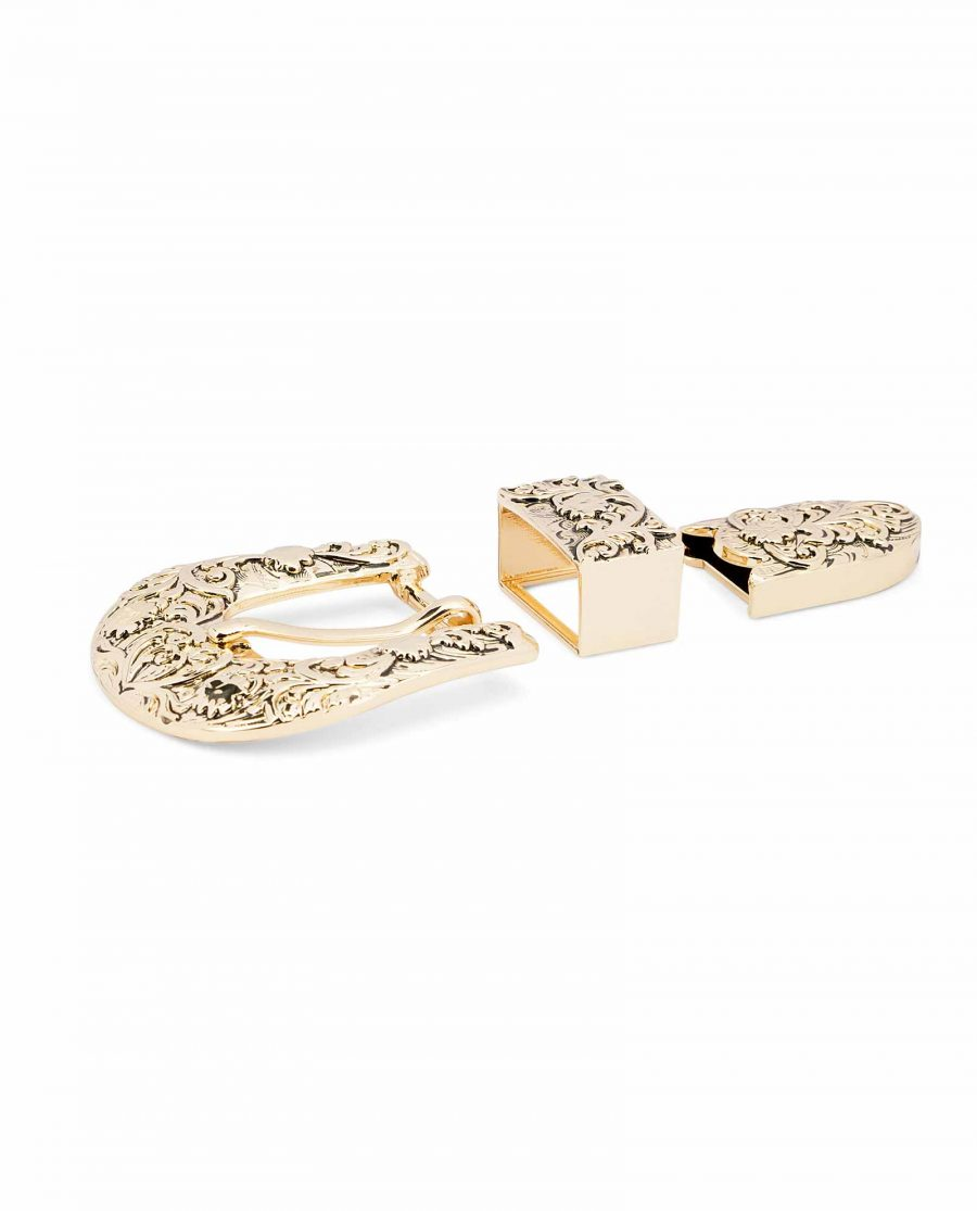 Western-Belt-Buckle-Gold-3-piece-set-1-inch-High-quality