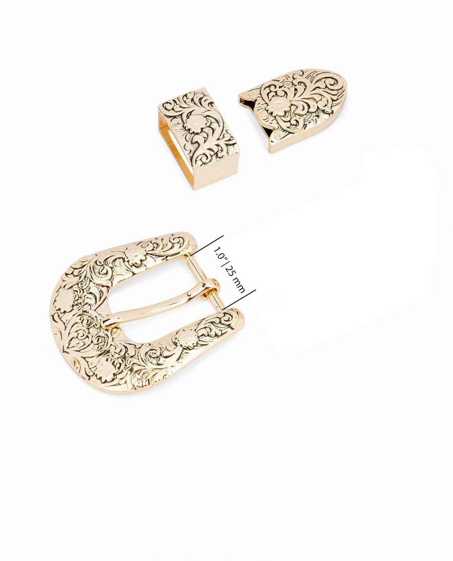 Western-Belt-Buckle-Gold-3-piece-set-1-inch-Strap-fit