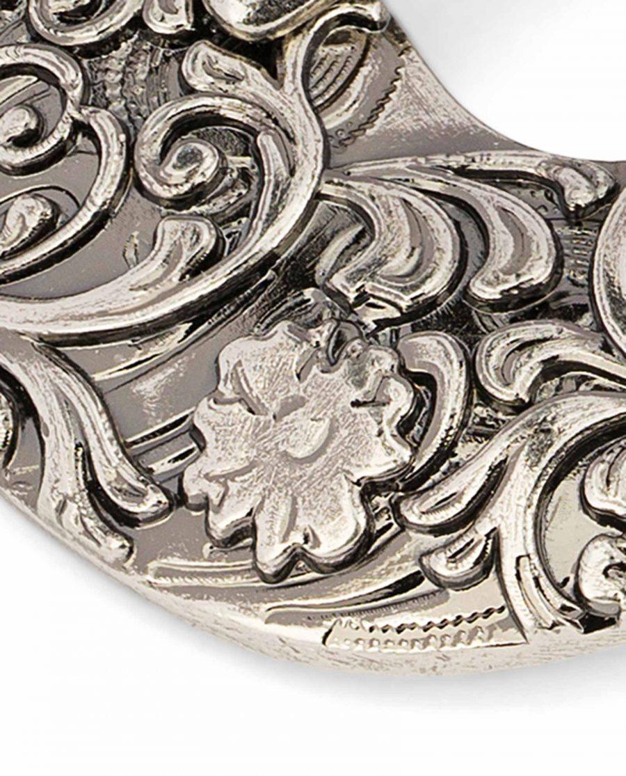 Western-Belt-Buckle-Silver-Antique-3-piece-set-25-mm-1-inch-Close-image