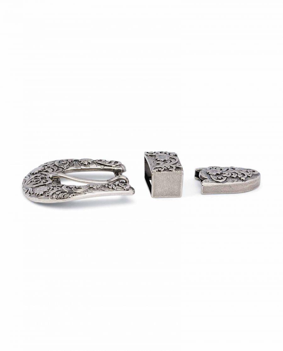 Western-Belt-Buckle-Silver-Antique-3-piece-set-25-mm-1-inch-High-quality