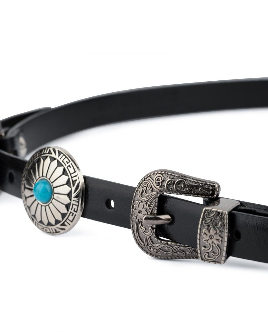 Western Belt Double Buckle With Turquoise Concho 2