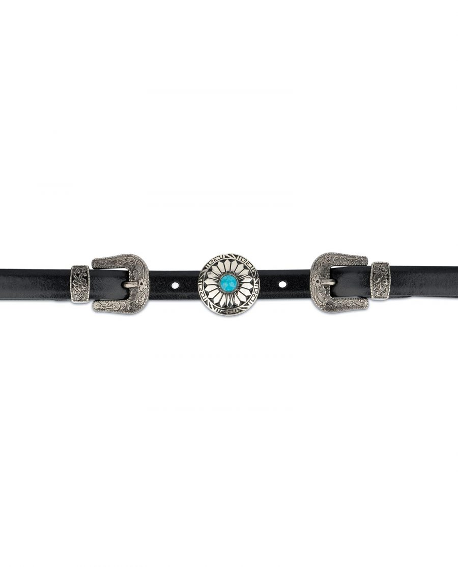 Western Belt Double Buckle With Turquoise Concho 4