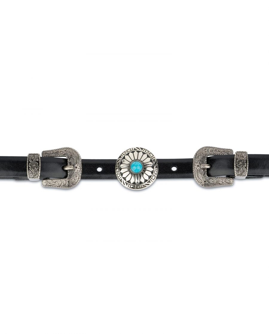Western Belt Double Buckle With Turquoise Concho 6
