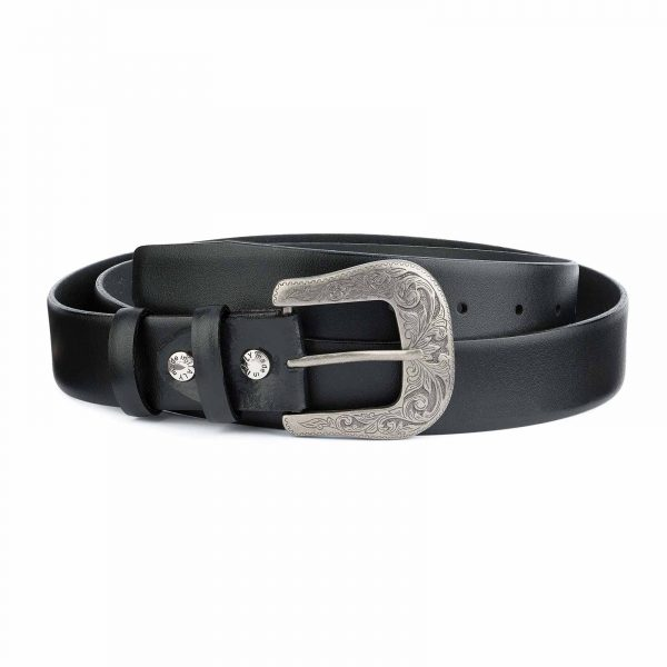 Western-Belt-Mens-Black-Genuine-Smooth-Leather