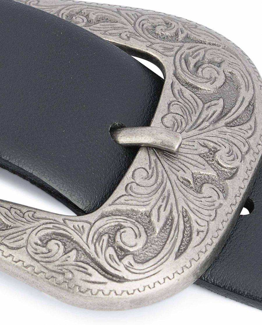 Western-Belt-Mens-Black-Smooth-Leather-Floral-engrave