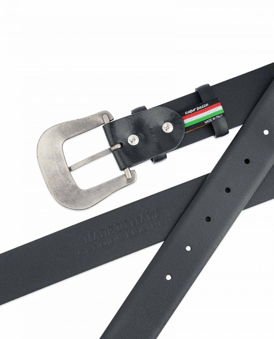 Western-Belt-Mens-Black-Smooth-Leather-Heat-stamp
