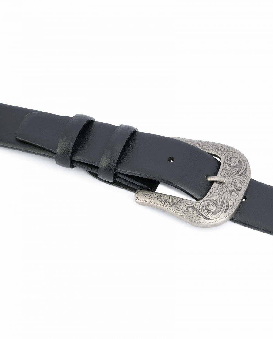 Western-Belt-Mens-Black-Smooth-Leather-On-pants