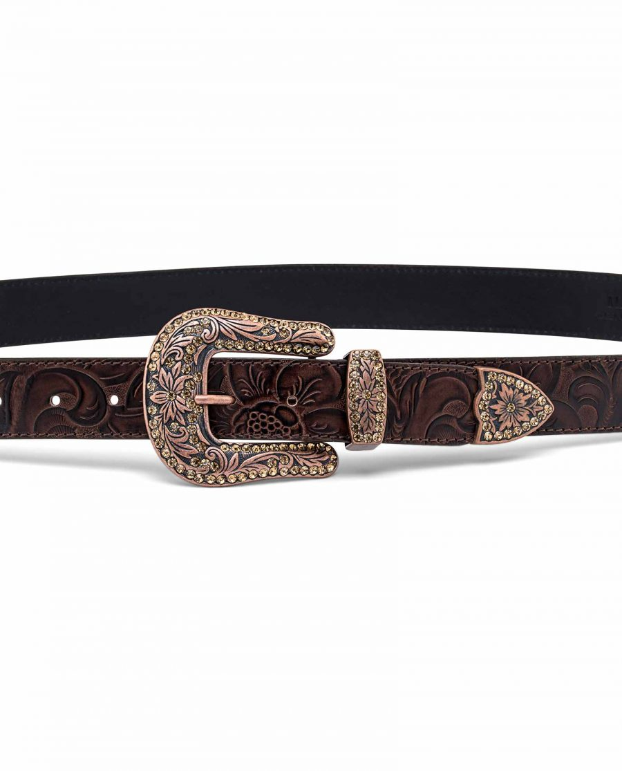 Western-Floral-Belt-With-Copper-Buckle-On-pants