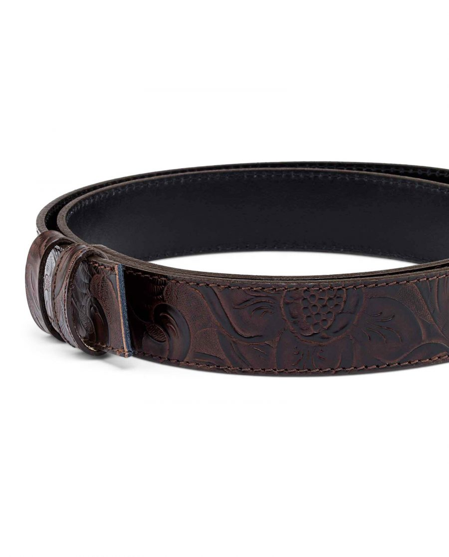 Western-Floral-Embossed-Leather-Belt-Strap-Buckle-attach