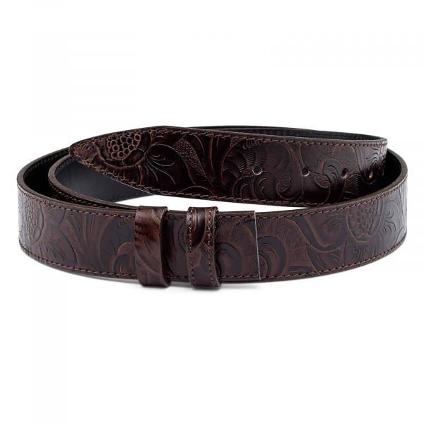 Western-Floral-Embossed-Leather-Belt-Strap-First-image