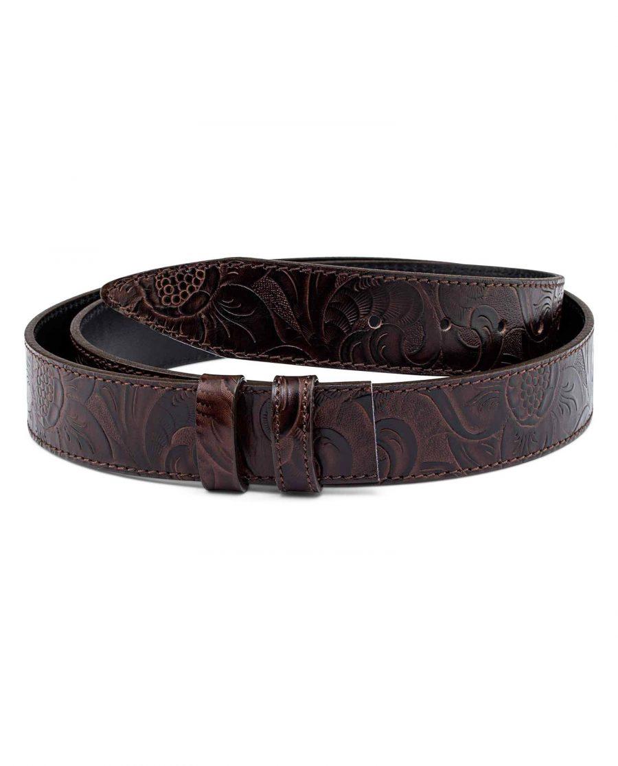 Western-Floral-Embossed-Leather-Belt-Strap-First-image