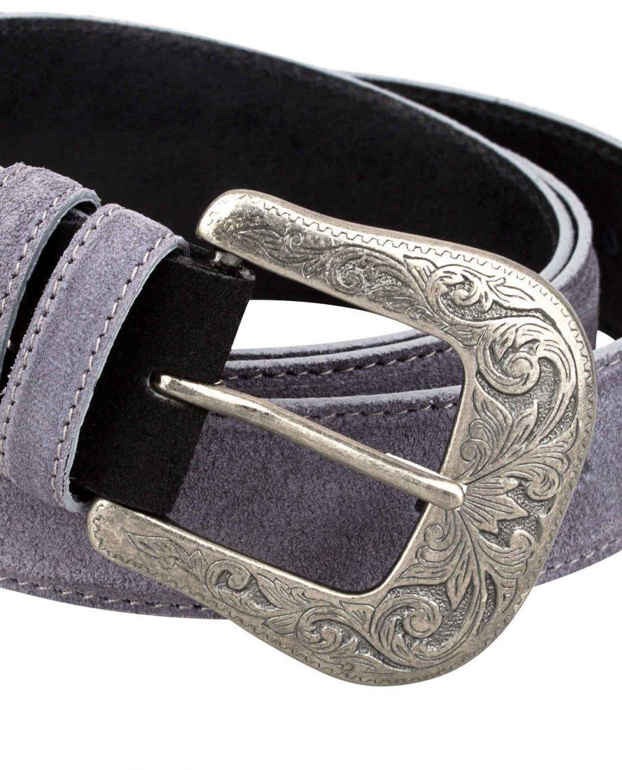 Western-Suede-Gray-Belt-Buckle-Image