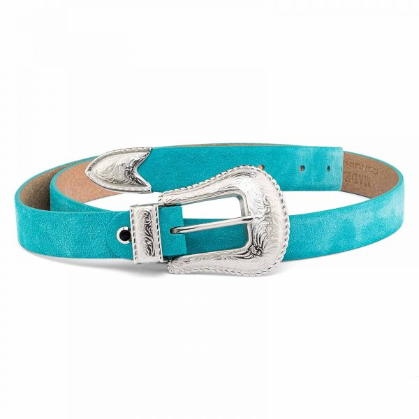 Western-Turquoise-Suede-Belt-Cowgirl-buckle