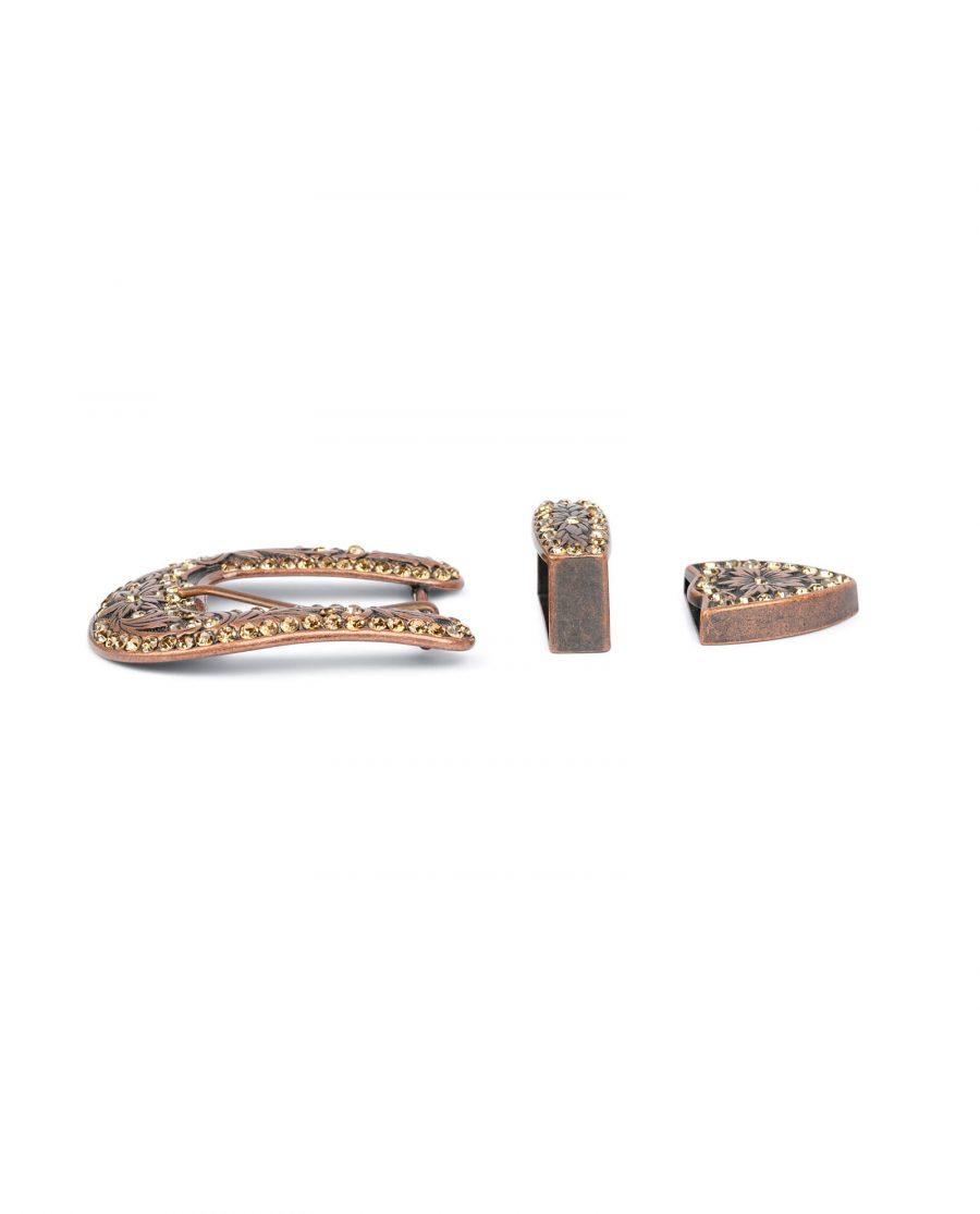 Western rhinestone copper belt buckle COPP34CWSET 2