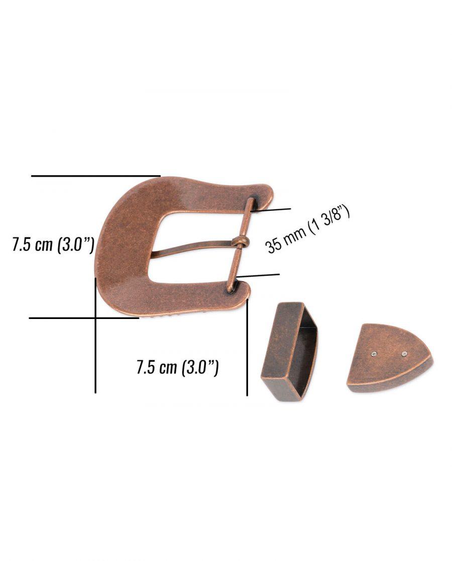 Western rhinestone copper belt buckle COPP34CWSET 4