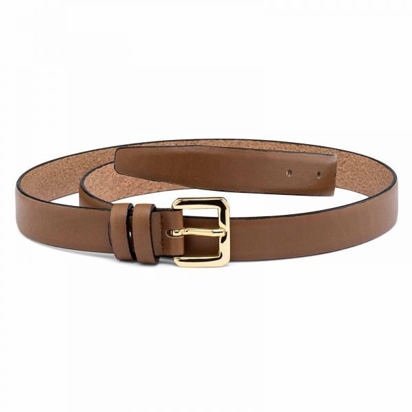 Womens-Beige-Skinny-Belt-With-gold-buckle-First-picture