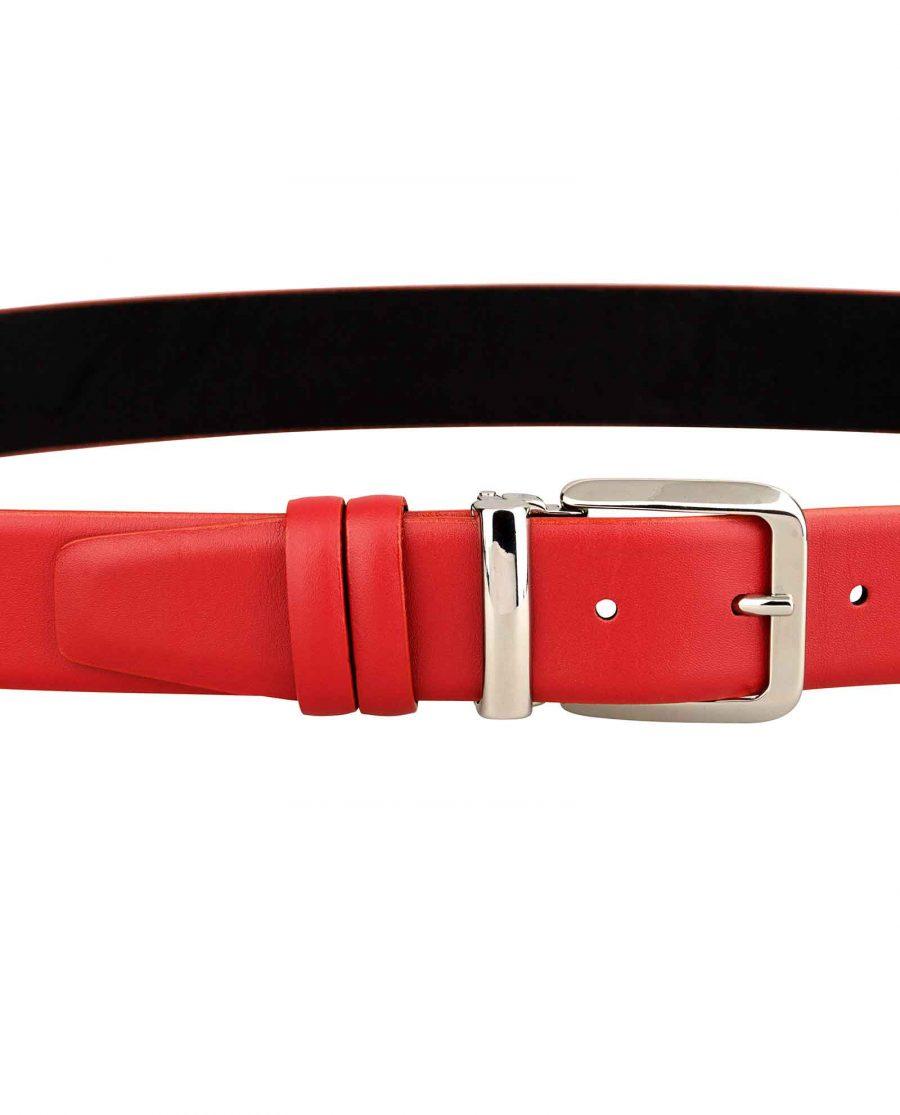 Womens-Red-Belt-Italian-Buckle-on-dress