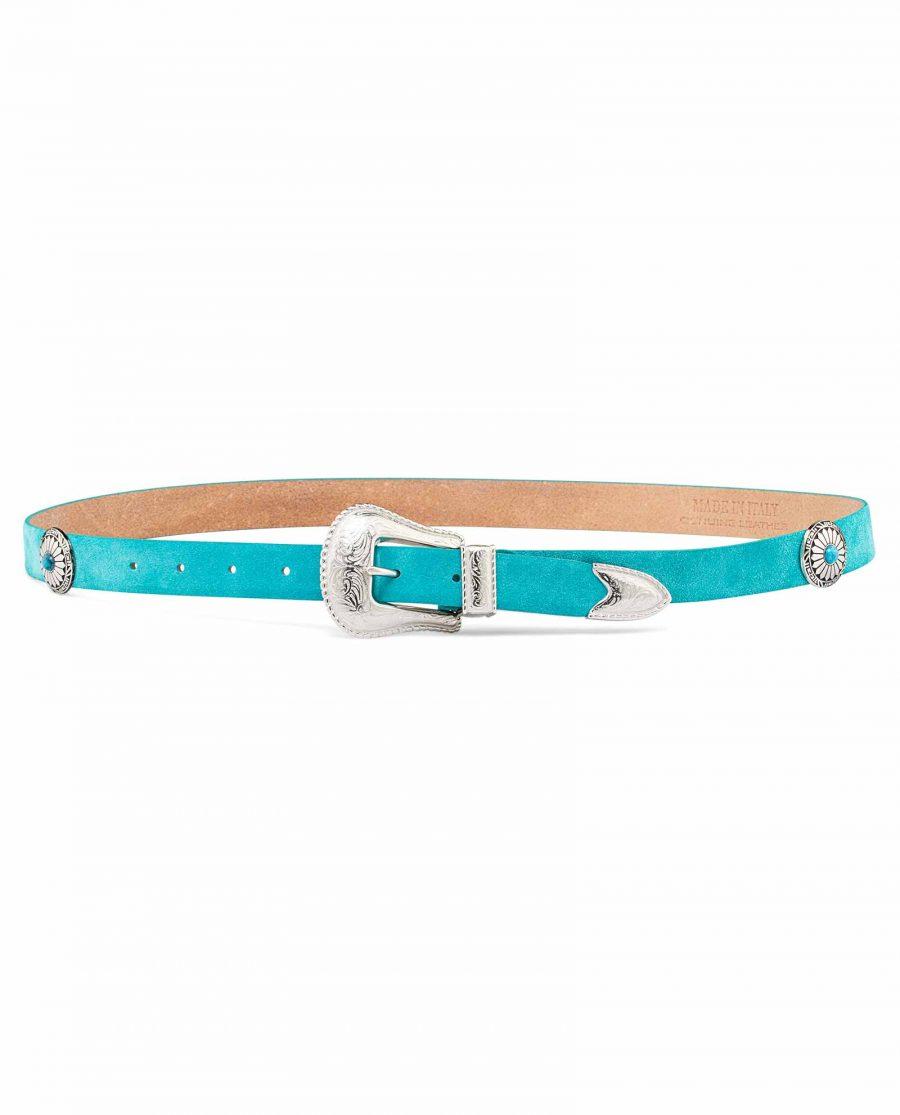 Womens-Turquoise-Concho-Belt-On-waist-body