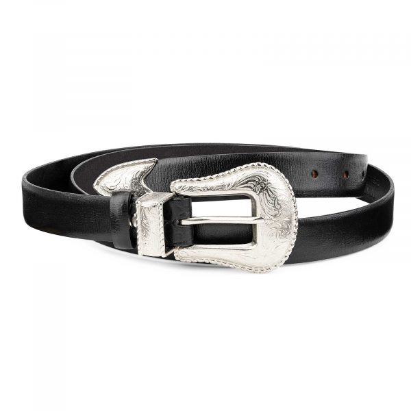 Womens-Western-Belt-Black-Smooth-Leather-by-Capo-Pelle-First-picture