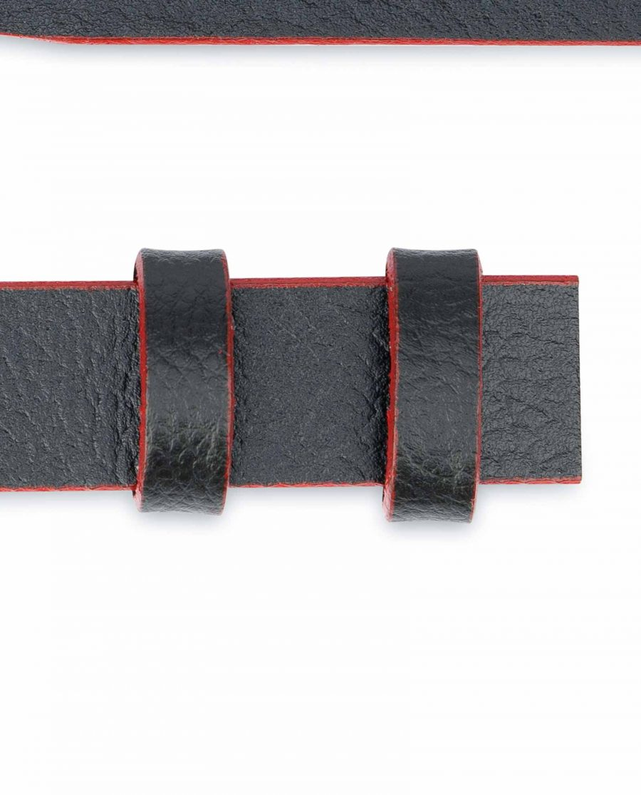 1-Inch-Black-Thin-Belt-Without-Buckle-Red-Edges-Loops