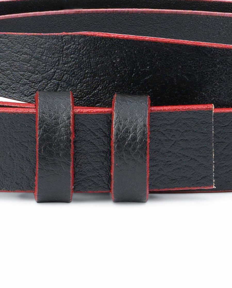 1-Inch-Black-Thin-Belt-Without-Buckle-Red-Edges-Pebbled