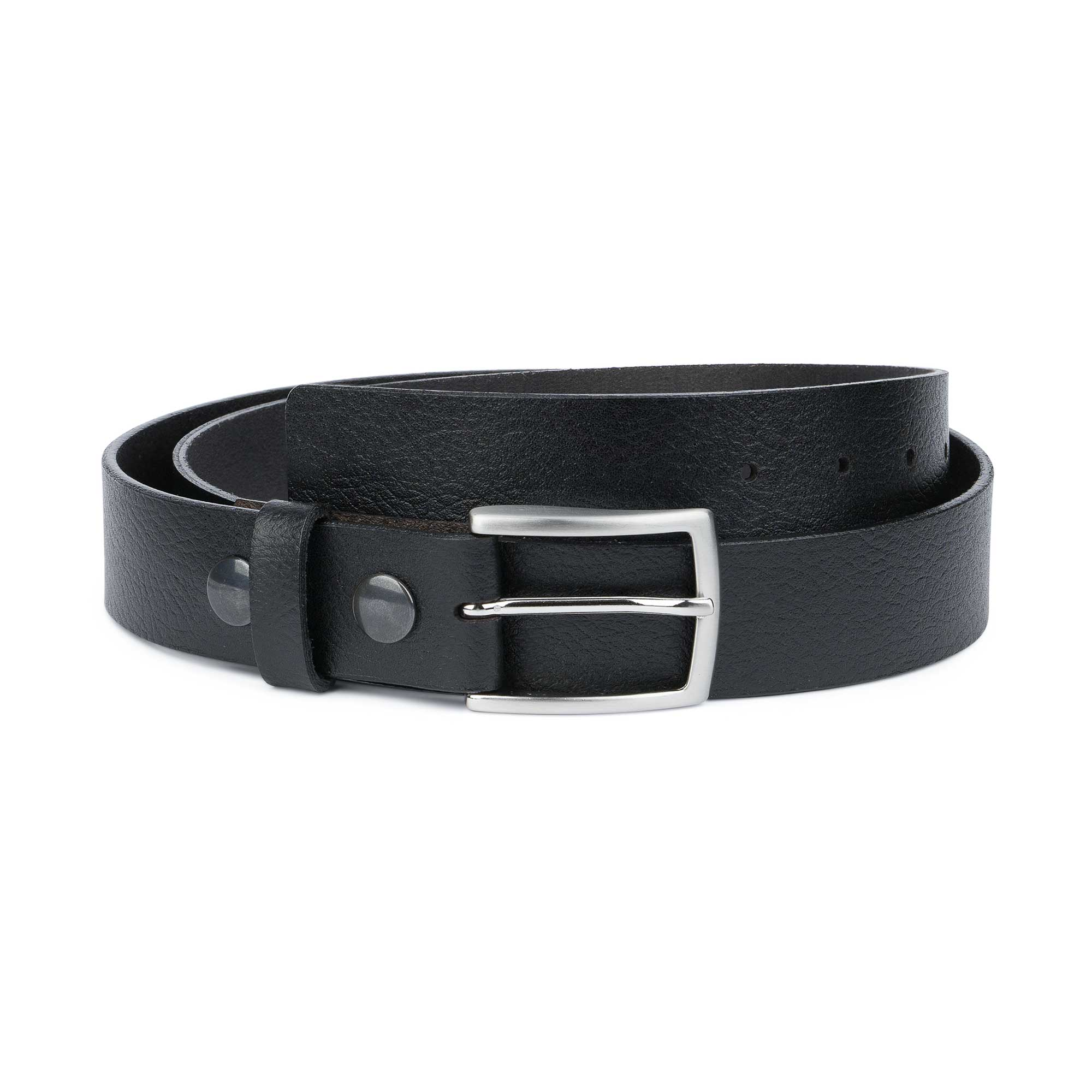 Details about Belt With Removable Buckle Interchangeable Men's Belts Black leather Snap on