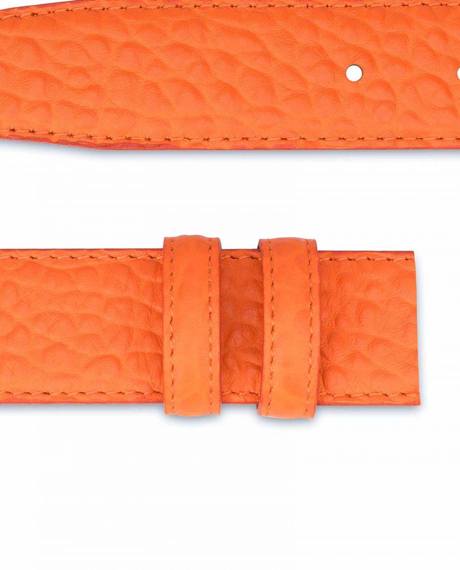 Belt-Without-Buckle-Orange-Leather-Strap-1-3-8-inch-Belt-loops