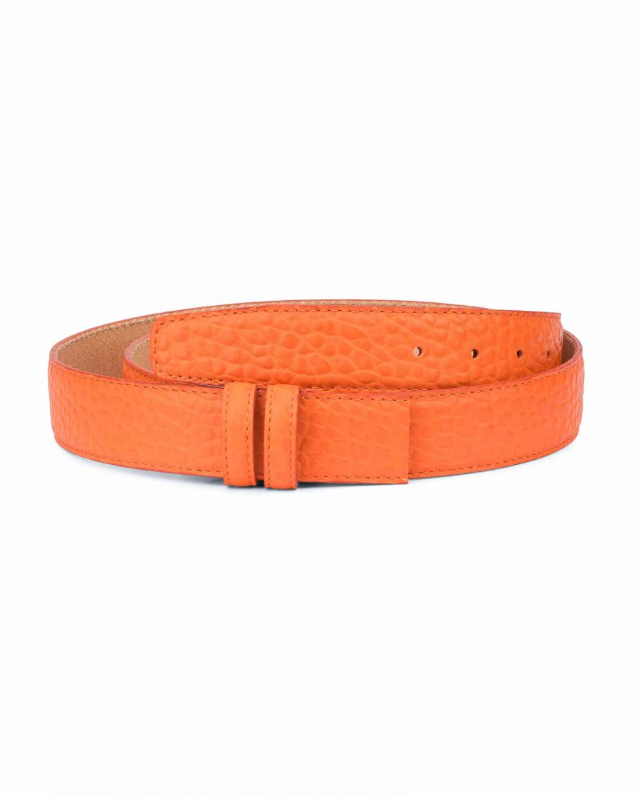 Belt-Without-Buckle-Orange-Leather-Strap-1-3-8-inch-Capo-Pelle