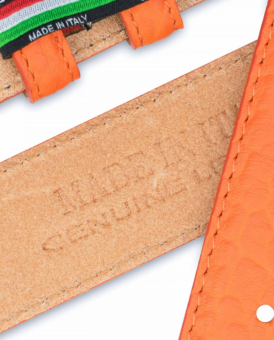 Belt-Without-Buckle-Orange-Leather-Strap-1-3-8-inch-Heat-stamp