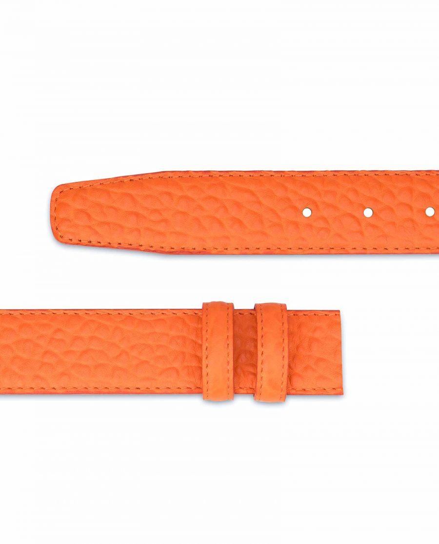 Belt-Without-Buckle-Orange-Leather-Strap-1-3-8-inch-Italian