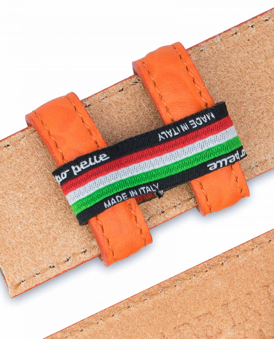 Belt-Without-Buckle-Orange-Leather-Strap-1-3-8-inch-Italy