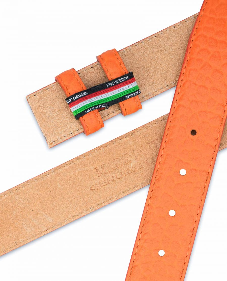 Belt-Without-Buckle-Orange-Leather-Strap-1-3-8-inch-Made-in-Italy