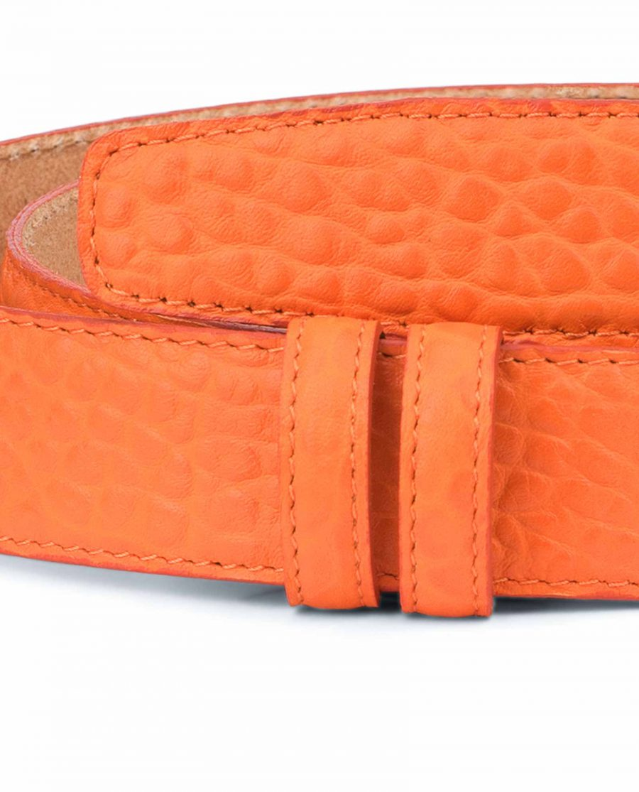 Belt-Without-Buckle-Orange-Leather-Strap-1-3-8-inch-Pebbled