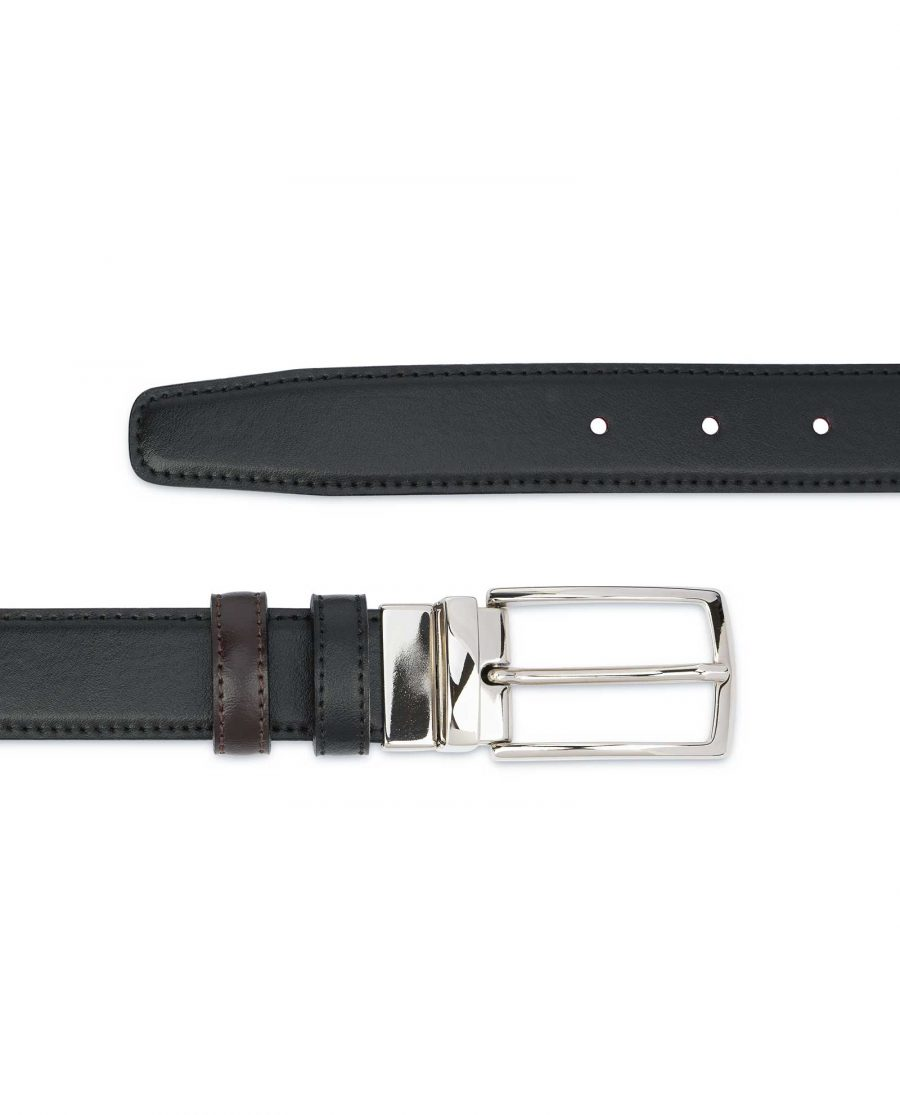 Black Brown Reversible Belt Men's 30 mm Stitching