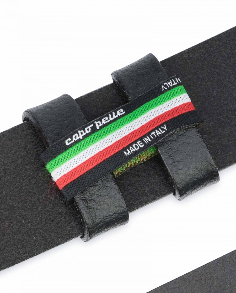 Black-Leather-Belt-No-Buckle-Replacement-Strap-Italian
