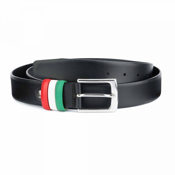 Black Leather Belt with Italy Flag Colors Capo Pelle.jpeg
