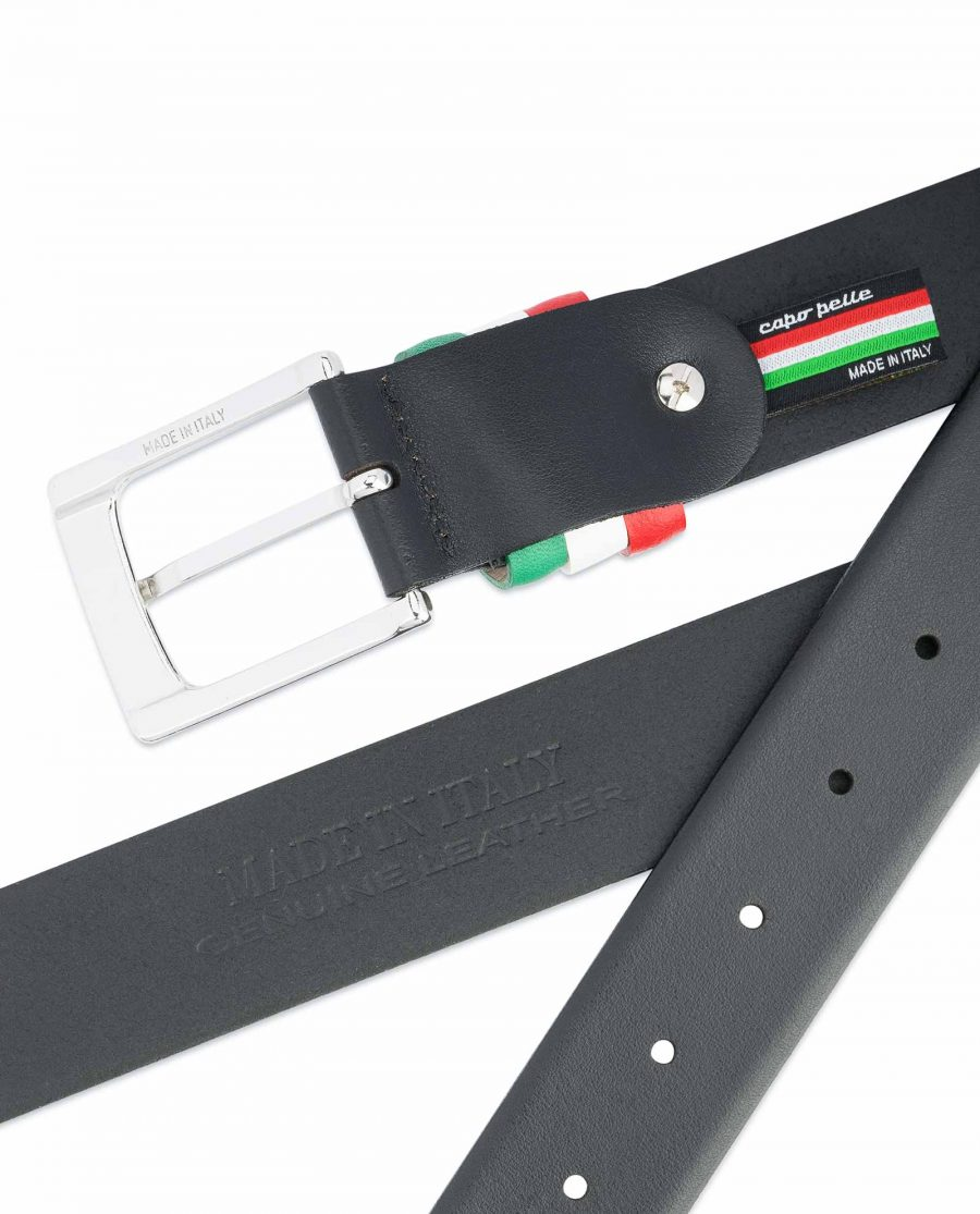 Black-Leather-Belt-with-Italy-Flag-Colors-Heat-stamp