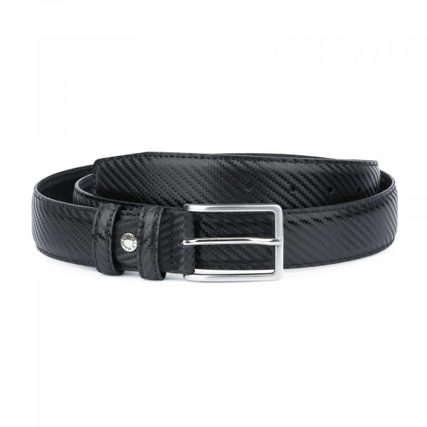 Black-Mens-Leather-Belt-Carbon-Print-Capo-Pelle