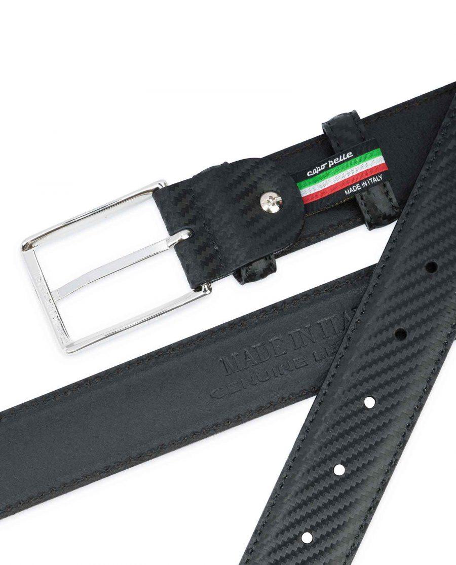 Black-Mens-Leather-Belt-Carbon-Print-Heat-stamp