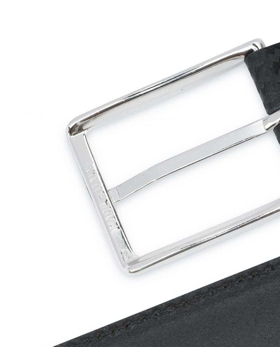 Black-Mens-Leather-Belt-Carbon-Print-Italian-buckle