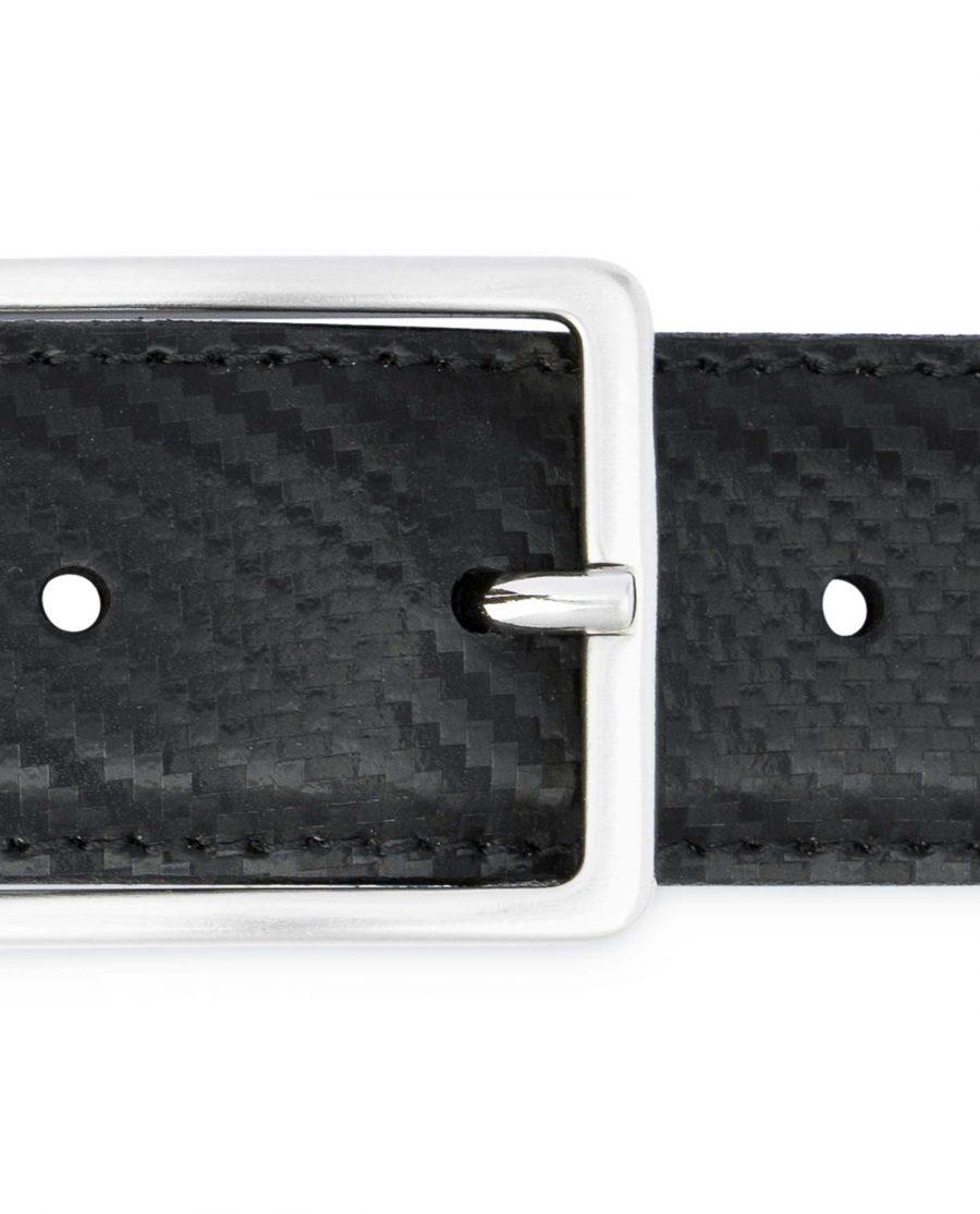 Black-Mens-Leather-Belt-Carbon-Print-Rectangle-buckle
