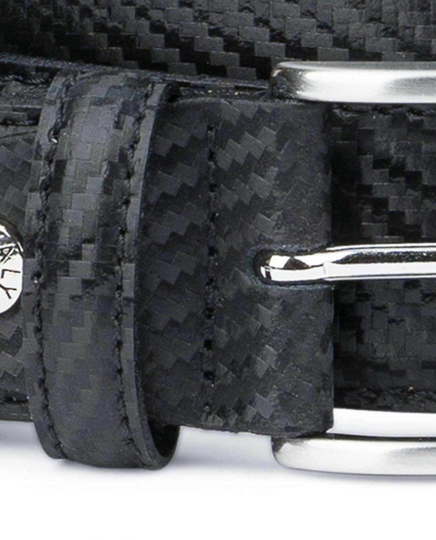 Black-Mens-Leather-Belt-Carbon-Print-Top-quality